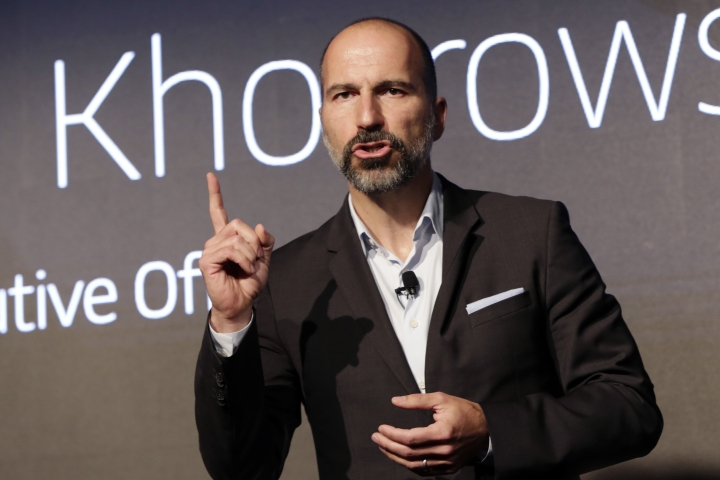 Uber CEO Dara Khosrowshahi speaks during the company's unveiling of the new features in New York, Wednesday, Sept. 5, 2018. Uber is aiming to boost driver and passenger safety in an effort to rebuild trust in the brand. (AP Photo/Richard Drew)