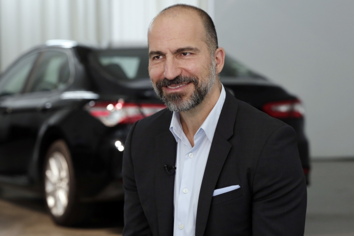 Uber CEO Dara Khosrowshahi listens during an interview after the company's unveiling of the new features in New York, Wednesday, Sept. 5, 2018. Uber is aiming to boost driver and passenger safety in an effort to rebuild trust in the brand. (AP Photo/Richard Drew)