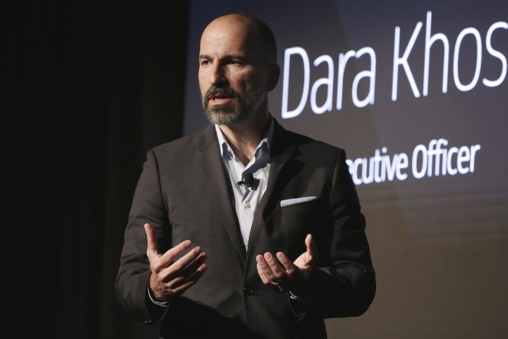 Uber CEO Dara Khosrowshahi speaks during the company's unveiling of the new features in New York, Wednesday, Sept. 5, 2018. Uber is aiming to boost driver and passenger safety in an effort to rebuild trust in the brand.(AP Photo/Richard Drew)