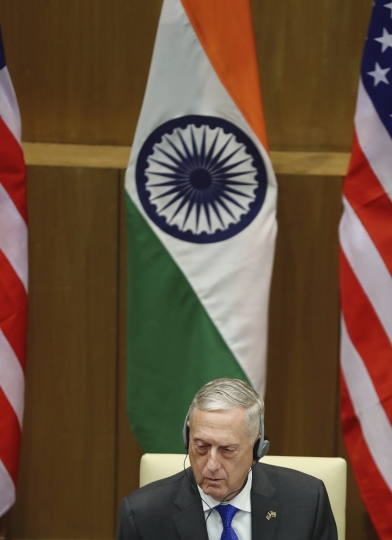 "U.S. Defense Secretary James Mattis, listens to the press statement made by Indian Foreign Minister Sushma Swaraj after the so-called ""2+2"" talks in New Delhi, India, Thursday, Sept. 6, 2018. U.S. Pompeo and Mattis held long-delayed talks Thursday with top Indian officials, looking to shore up the alliance with one of Washington's top regional partners. (AP Photo/Manish Swarup)"