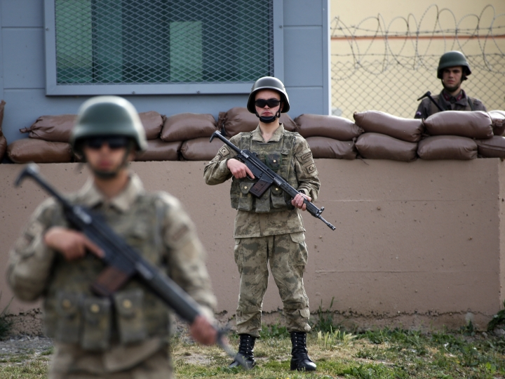 FILE - In this Monday, April 16, 2018 file photo, members of Turkish forces guard the prison complex in Aliaga, Izmir province, western Turkey, where jailed U.S. evangelical pastor Andrew Craig Brunson was appearing on his trial at a court inside the complex. Turkey's arrests of Brunson and other Western citizens have thrust its troubled judicial system to the forefront of ties with allies, reinforcing suspicions that the Turkish government is using detainees as diplomatic leverage. (AP Photo/Lefteris Pitarakis, File)