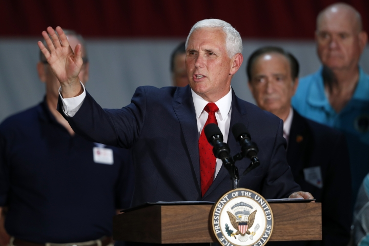 Vice President Mike Pence speaks to airmen during a visit to Nellis Air Force Base in Las Vegas Friday, Sept. 7, 2018. (Steve Marcus/Las Vegas Sun via AP)