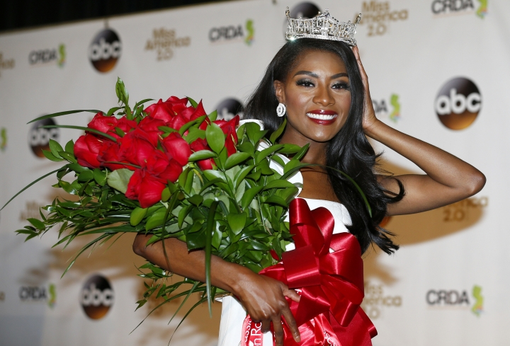Miss America 2019 Nia Franklin poses during a news conference, early Monday, Sept. 10, 2018, in Atlantic City, N.J. (AP Photo/Noah K. Murray)