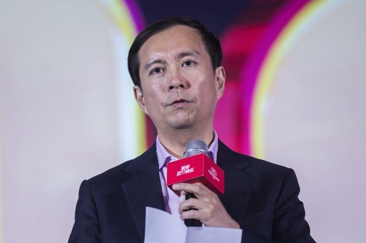 """In this Nov. 12, 2017, photo, Daniel Zhang, CEO of Alibaba Group, speaks at the media center at the conclusion of the """"Singles' Day"""" global online shopping festival in Shanghai. Jack Ma, who founded e-commerce giant Alibaba Group and helped to launch China's online retailing boom, announced Monday, Sept. 10, 2018 that he will step down as the company's chairman next September. In a letter released by Alibaba, Ma said he will be succeeded by CEO Daniel Zhang. Ma handed over the CEO's post to Zhang in 2013 as part of what he said was a succession process developed over a decade. (Chinatopix via AP)"""