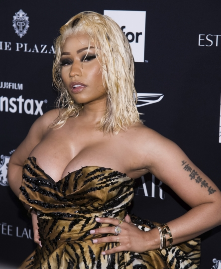 """Nicki Minaj attends the Harper's BAZAAR """"ICONS by Carine Roitfeld"""" party at The Plaza on Friday, Sept. 7, 2018, New York. (Photo by Charles Sykes/Invision/AP)"""