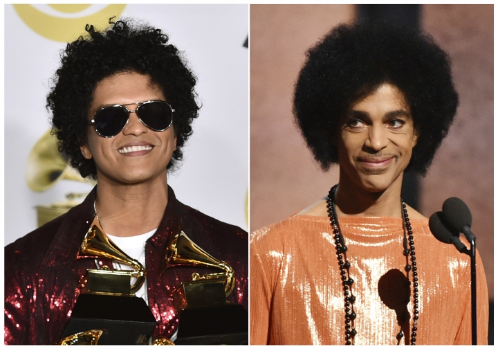 "This combination photo shows Bruno Mars in the press room with his awards at the 60th annual Grammy Awards in New York on Jan. 28, 2018, left, and Prince presenting the award for album of the year at the 57th annual Grammy Awards in Los Angeles on Feb. 8, 2015. A representative for Mars says a report claiming he will portray Prince in a new movie is false. British tabloid Daily Mirror published a story Saturday, Sept. 8, that said Mars was ""being lined up to play Prince"" in a biopic to air on Netflix. (AP Photo)"