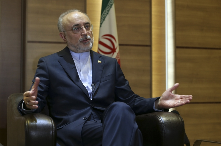 Iran's nuclear chief Ali Akbar Salehi speaks in an interview with The Associated Press at the headquarters of Iran's atomic energy agency, in Tehran, Iran, Tuesday, Sept. 11, 2018. Salehi told The Associated Press that he hopes the atomic deal between Tehran and world powers survives, but warns the program will be in a stronger position than ever if not. (AP Photo/Vahid Salemi)