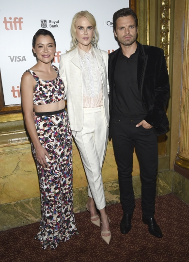 "Tatiana Maslany, from left, Nicole Kidman and Sebastian Stan attend the premiere for ""Destroyer"" on day 5 of the Toronto International Film Festival at the Winter Garden Theatre on Monday, Sept. 10, 2018, in Toronto. (Photo by Evan Agostini/Invision/AP)"