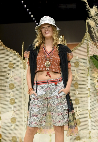 A model walks the runway at the Anna Sui spring 2019 show during New York Fashion Week, Monday, Sept. 10, 2018. (AP Photo/Diane Bondareff)