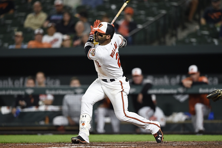 Baltimore Orioles' Jonathan Villar follows through on an RBI single against the Oakland Athletics in the eighth inning of a baseball game, Tuesday, Sept. 11, 2018, in Baltimore. The Athletics won 3-2. (AP Photo/Gail Burton)