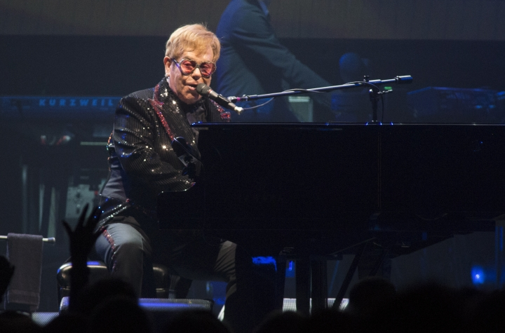 "Elton John performs in concert during the opening night of his ""Farewell Yellow Brick Road World Tour"" at the PPL Center on Saturday, Sept. 8, 2018, in Allentown, Pa. (Photo by Owen Sweeney/Invision/AP)"