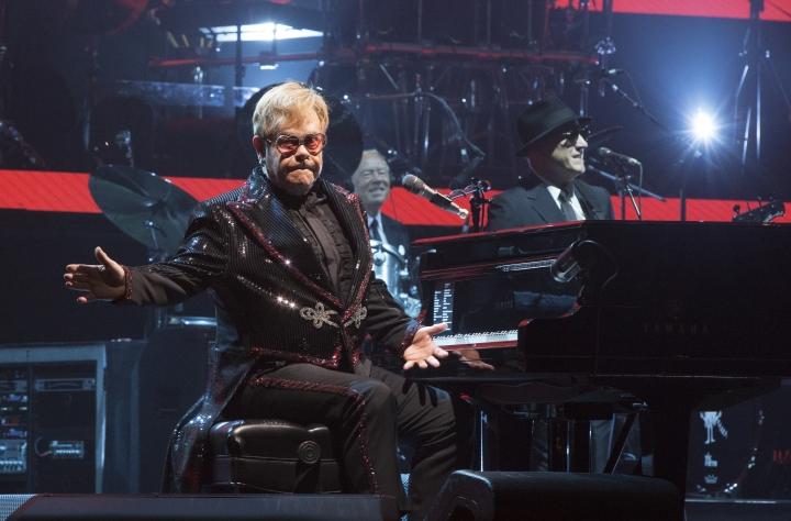 """Elton John performs in concert during the opening night of his """"Farewell Yellow Brick Road World Tour"""" at the PPL Center on Saturday, Sept. 8, 2018, in Allentown, Pa. (Photo by Owen Sweeney/Invision/AP)"""