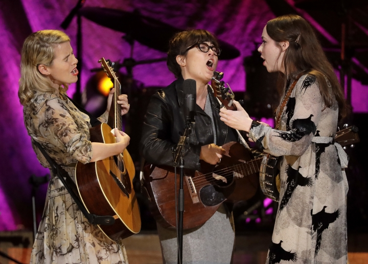 The trio I'm With Her performs at the Americana Honors and Awards show, Wednesday, Sept. 12, 2018, in Nashville, Tenn. From left are Aoife O'Donovan, Sara Watkins and Sarah Jarosz. (AP Photo/Mark Zaleski)