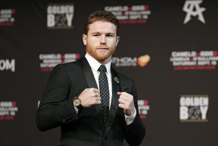 Canelo Alvarez poses during a news conference Wednesday, Sept. 12, 2018, in Las Vegas. Alvarez is scheduled to fight Gennady Golovkin in a title bout Saturday in Las Vegas. (AP Photo/John Locher)