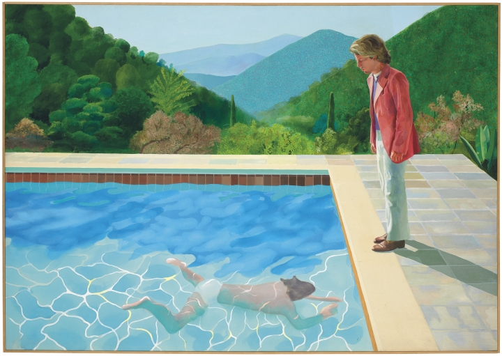 "This undated photo provided by Christie's Images Ltd. 2018, shows a painting by David Hockney entitled ""Portrait of an Artist (Pool with Two Figures)."" Christie's expects the painting to set a new record for a work by a living artist sold at auction, in their November 2018 sale. The previous record was held by Jeff Koons' ""Balloon Dog,"" which sold for $58.4 million in 2013. (Christie's Images Ltd. 2018 via AP)"
