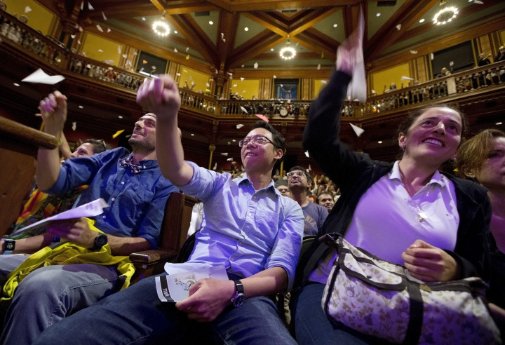 Audience members launch paper planes during Ig Nobel award ceremonies at Harvard University in Cambridge, Mass., Thursday, Sept. 13, 2018.(AP Photo/Michael Dwyer)