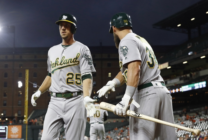 Oakland Athletics' Stephen Piscotty, left, celebrates his solo home run with teammate Nick Martini in the second inning of a baseball game against the Baltimore Orioles, Thursday, Sept. 13, 2018, in Baltimore. (AP Photo/Patrick Semansky)