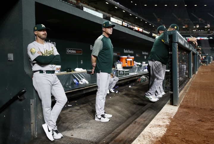 Oakland Athletics manager Bob Melvin, center, stands in the dugout in the second inning of a baseball game against the Baltimore Orioles, Thursday, Sept. 13, 2018, in Baltimore. (AP Photo/Patrick Semansky)