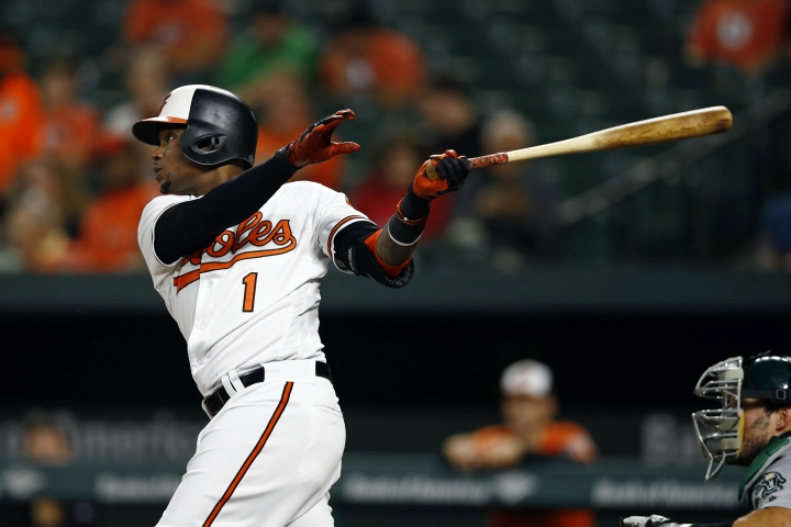 Baltimore Orioles' Tim Beckham singles in the first inning of a baseball game against the Oakland Athletics, Thursday, Sept. 13, 2018, in Baltimore. Cedric Mullins and Jonathan Villar scored on the play. (AP Photo/Patrick Semansky)