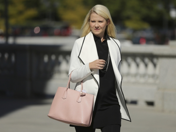 Elizabeth Smart walks to her press conference at the Utah State Capitol in Salt Lake City on Thursday, Sept. 13, 2018. Wanda Barzee will be released from Utah State Prison after serving her 15-year sentence for aggravated kidnapping and holding hostage Smart in 2002. (Jeffrey D. Allred/The Deseret News via AP)
