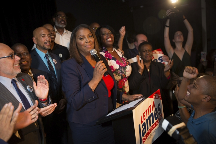 Letitia James delivers a victory speech after winning the primary election for attorney general Thursday, Sept. 13, 2018, in New York. The 59-year-old was an early favorite in the race after getting endorsements from Gov. Andrew Cuomo and other top Democrats. (AP Photo/Kevin Hagen)