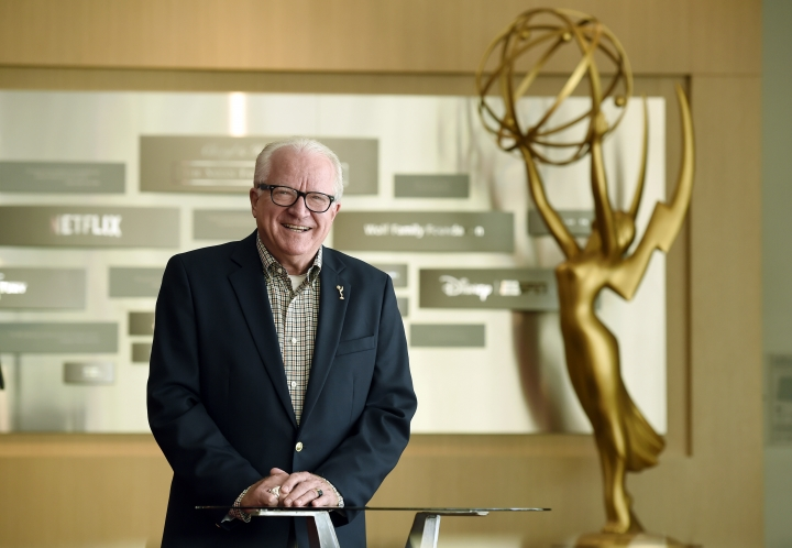 Dr. John Leverence, senior vice president of awards at the Academy of Television Arts & Sciences, poses for a portrait at the Television Academy, Thursday, Sept. 13, 2018, in Los Angeles. Leverence has overseen the Emmys Awards for the past 38 years. (Photo by Chris Pizzello/Invision/AP)