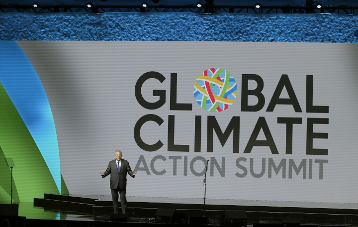 Former Vice President Al Gore addresses the Global Action Climate Summit Friday, Sept. 14, 2018, in San Francisco. California Gov. Jerry Brown's international climate summit wraps up Friday with a call to action on reducing greenhouse gas emissions, increasing renewable energy and other Earth-friendly initiatives ahead of the next United Nations climate meeting in 2020. (AP Photo/Eric Risberg)