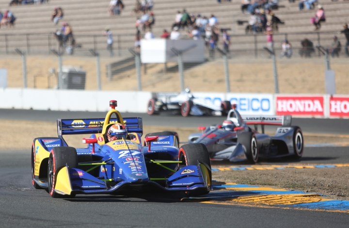 Alexander Rossi makes his way through the turns during his last race of the 2018 Verizon IndyCar Series Sunday, Sept. 16, 2018 in Sonoma, Calif. (Elias Funez/The Union via AP)