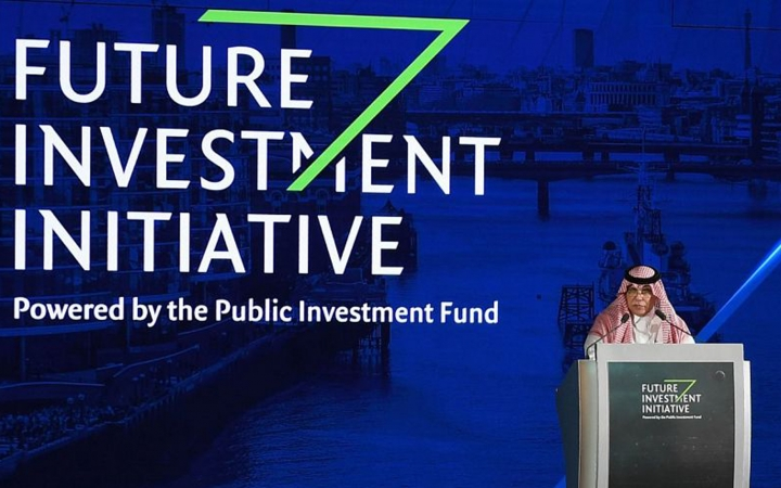 In this Oct. 24, 2017 photograph released by the state-run Saudi Press Agency, Saudi Minister of Commerce and Investment Majid al-Qasabi talks to the audience at the opening of Future Investment Initiative conference in Riyadh, Saudi Arabia. Saudi Arabia's sovereign wealth fund invested over $1 billion on Monday, Sept. 17, 2018, in an American electric car manufacturer just weeks after Tesla CEO Elon Musk earlier claimed the kingdom would help his own firm go private. (Saudi Press Agency via AP)