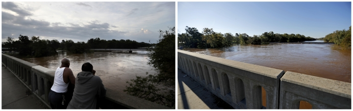 This combination of photos shows the Cape Fear River on Sept. 17, 2018, left, and on Sept. 19, 2018, in the aftermath of Hurricane Florence in Fayetteville, N.C. (AP Photos/David Goldman)