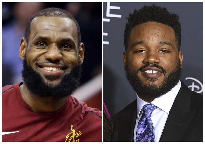 """This combination photo shows Cleveland Cavaliers forward LeBron James during an NBA basketball game against the Phoenix Suns in Phoenix on March 13, 2018, left, and filmmaker Ryan Coogler at the world premiere of """"A Wrinkle in Time"""" in Los Angeles on Feb. 26, 2018. James' production company SpringHill Entertainment tweeted Wednesday that Coogler will produce """"Space Jam 2,"""" the sequel to the 1996 movie that featured Michael Jordan alongside Warner Bros.' animated characters. """"Random Acts of Flyness"""" creator Terence Nance will direct James in the film. (AP Photo)"""