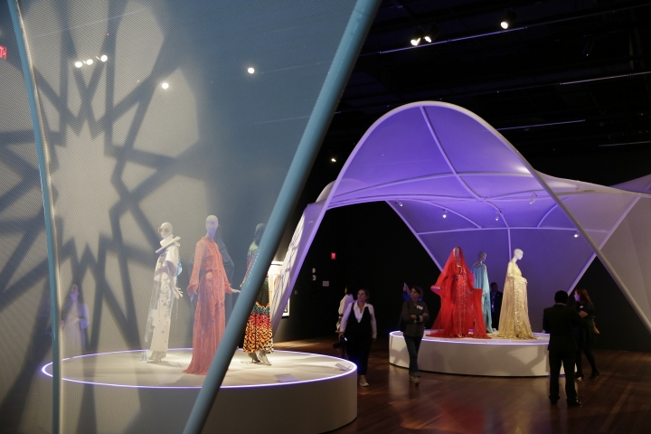 In this photo taken Thursday, Sept. 20, 2018, is the exhibit Contemporary Muslim Fashions at the M. H. de Young Memorial Museum in San Francisco. The first major museum exhibition of contemporary Muslim women's fashion reflects designs from around the world that are vibrant and elegant, playful and diverse. The exhibit opens on Saturday. (AP Photo/Eric Risberg)