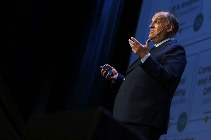 Javier Tebas, the president of the Spanish La Liga speaks during the World Football summit in Madrid, Spain, Monday, Sept. 24, 2018. (AP Photo/Paul White)