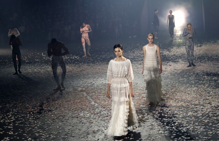 Models wear creations for Christian Dior's Spring/Summer 2019 ready to wear fashion collection presented in Paris, Monday, Sept. 24, 2018. (AP Photo/Christophe Ena)