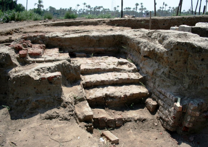 This undated photo released by the Egyptian Ministry of Antiquities, shows a large Roman bath and a chamber likely for religious rituals, that was recently discovered in the town of Mit Rahina, 20 kilometers, or 12 miles, south of Cairo, Egypt. Egypt hopes such discoveries will spur tourism, partially driven by antiquities sightseeing, which was hit hard by political turmoil following the 2011 uprising. (Egyptian Ministry of Antiquities via AP)