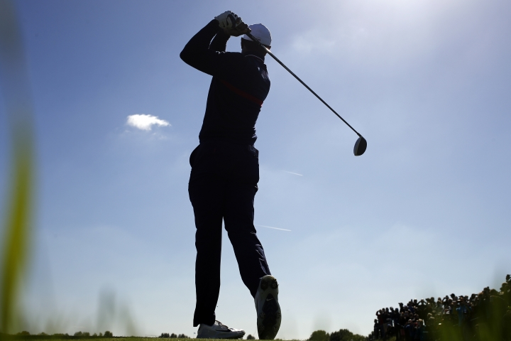 Tiger Woods of the US hits his drive on the 13th hole during a practice session at Le Golf National in Saint-Quentin-en-Yvelines, outside Paris, France, Tuesday, Sept. 25, 2018. The 42nd Ryder Cup will be held in France from Sept. 28-30, 2018 at Le Golf National. (AP Photo/Francois Mori)