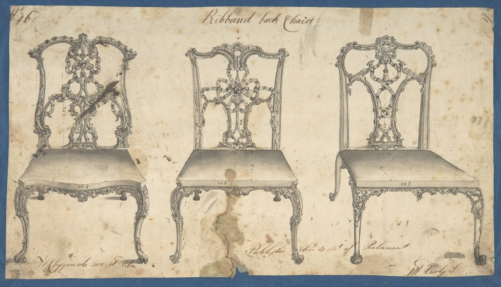 """This photo provided by The Metropolitan Museum of Art shows Thomas Chippendale Ribband Back Chairs for Chippendale's Director. The book is featured in the exhibit """"Chippendale's Director: The Designs and Legacy of a Furniture Maker,"""" which runs through Jan. 27, 2019, at the museum in New York. (The Metropolitan Museum of Art via AP)"""