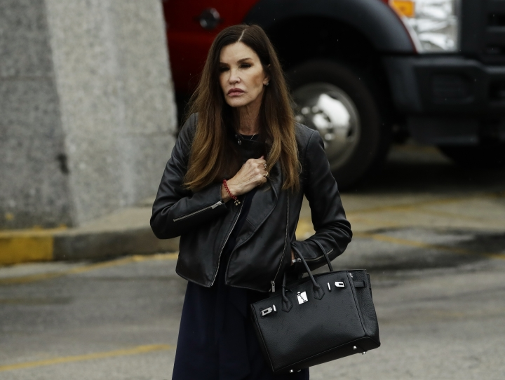 Former model Janice Dickinson walks outside the Montgomery County Courthouse during Bill Cosby's sentencing hearing, Tuesday, Sept. 25, 2018, in Norristown, Pa. (AP Photo/Matt Slocum)