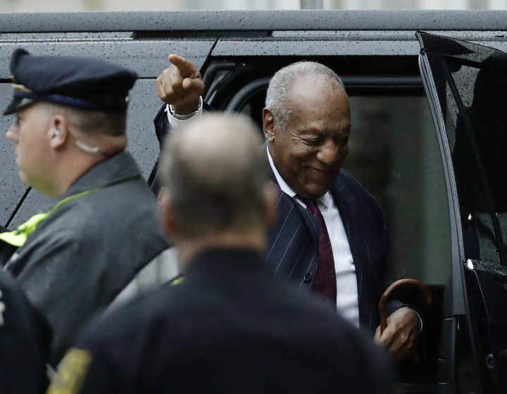 Bill Cosby gestures as he arrives for his sentencing hearing at the Montgomery County Courthouse, Tuesday, Sept. 25, 2018, in Norristown, Pa. (AP Photo/Matt Slocum)