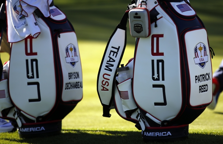USA's Patrick Reed and Bryson Dechambeau's bags are pictured during a practice session at Le Golf National in Guyancourt, outside Paris, France, Tuesday, Sept. 25, 2018. The 42nd Ryder Cup will be held in France from Sept. 28-30, 2018 at Le Golf National. (AP Photo/Francois Mori)
