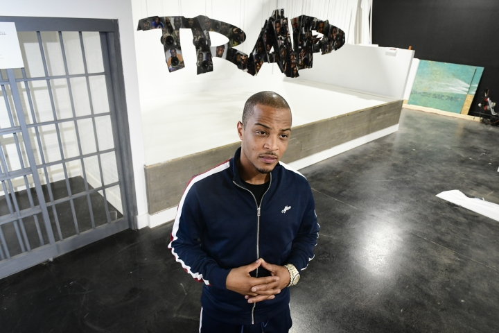 This Sept. 14, 2018 photo shows rapper Clifford Harris Jr., better known as T.I., during a tour of his Trap Music Museum in Atlanta. Trap is a popular sub genre of hip-hop with the term trap referring to places where drug deals take place. The museum opens on Sept. 30. (AP Photo/John Amis)