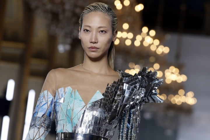 A model wears a creation for Balmain Spring/Summer 2019 ready-to-wear fashion collection presented in Paris, Friday, Sept. 28, 2018. (AP Photo/Thibault Camus)