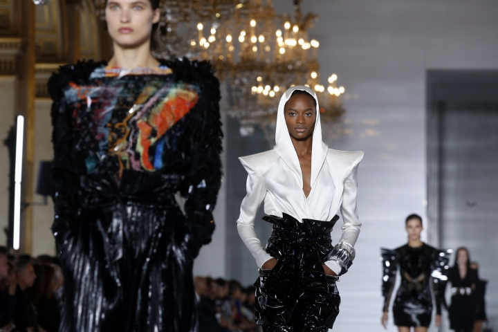 ModelS wear creationS for Balmain Spring/Summer 2019 ready-to-wear fashion collection presented in Paris, Friday, Sept. 28, 2018. (AP Photo/Thibault Camus)