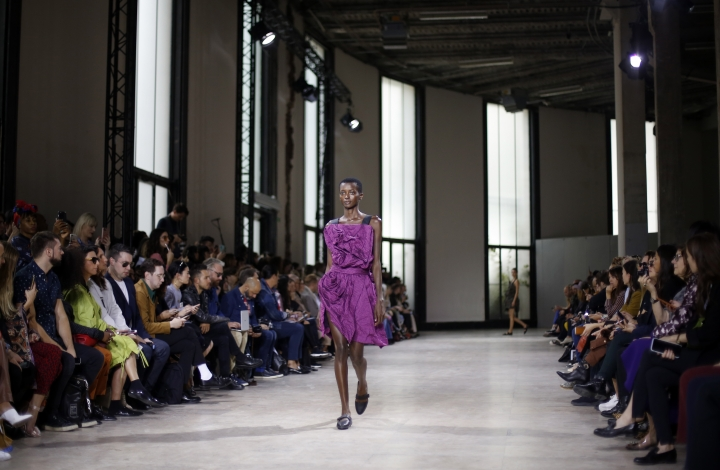 A model wears a creation for Issey Miyake Spring/Summer 2019 ready-to-wear fashion collection presented in Paris, Friday, Sept. 28, 2018. (AP Photo/Thibault Camus)