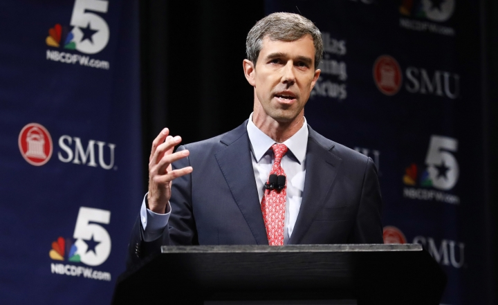 FILE - In this Sept. 21, 2018, file photo, Democratic U.S. Representative Beto O'Rourke takes part in in a debate for the Texas U.S. Senate with Republican U.S. Sen. Ted Cruz, in Dallas. Willie Nelson will hold a concert for Democratic Senate candidate Beto O'Rourke on Saturday, Sept. 29, 2018. O'Rourke is a three-term congressman from El Paso trying to upset Republican Sen. Ted Cruz in November. (Tom Fox/The Dallas Morning News via AP, Pool, File)