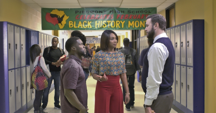 "This image released by Universal Pictures shows Kevin Hart, from left, Tiffany Haddish and Taran Killam in a scene from the film, ""Night School."" (Universal Pictures via AP)"