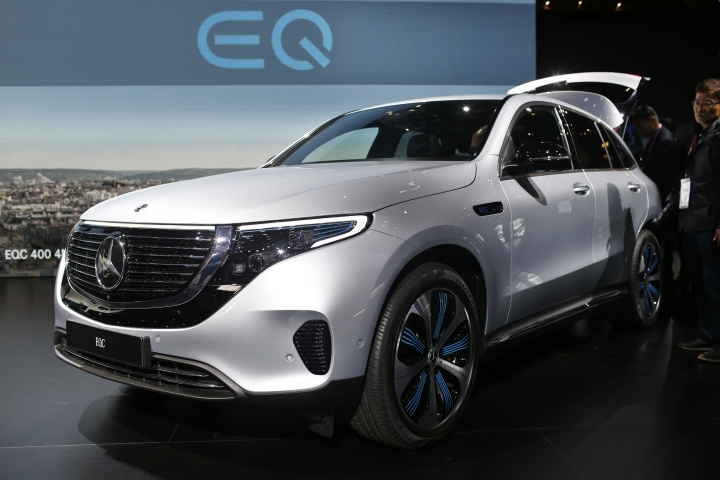 The Mercedes EQC is on display at the Auto show in Paris, France, Tuesday, Oct. 2, 2018, 2018. All-electric vehicles with zero local emissions are among the stars of the Paris auto show, rubbing shoulders with the fossil-fuel burning SUVs that many car buyers love. (AP Photo/Thibault Camus)