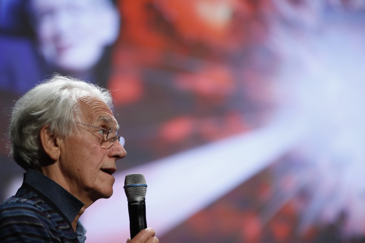 French scientist Gerard Mourou holds a press conference at the Ecole Polytechnique in Palaiseau, south of Paris, Tuesday, Oct.2, 2018. Three scientists from the United States, Canada and France won the Nobel Prize in Physics on Tuesday for work with lasers described as revolutionary and bringing science fiction into reality. (AP Photo/Christophe Ena)