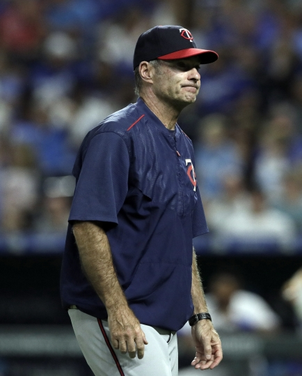 FILE - In this July 20, 2018, file photo, Minnesota Twins manager Paul Molitor grimaces during a baseball game against the Kansas City Royals, at Kauffman Stadium in Kansas City, Mo. The Minnesota Twins fired Paul Molitor on Tuesday, Oct. 2, 2018, one season after he won the American League Manager of the Year award. Molitor has been offered another position within the organization. (AP Photo/Orlin Wagner, File)