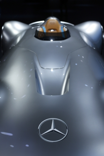 The Mercedes Vision EQ Silver Arrow is displayed at the Paris Auto show, France, Tuesday, Oct. 2, 2018, 2018. The one-seater vehicle is an homage to the record-breaking W 125 car from 1937. (AP Photo/Thibault Camus)